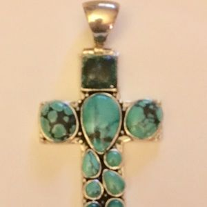 d3ffa91723579c Jewelry - Sterling silver turquoise cross pendant